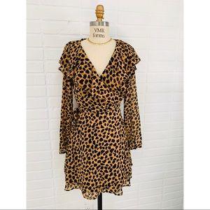Free People Leopard Wrap Dress XS